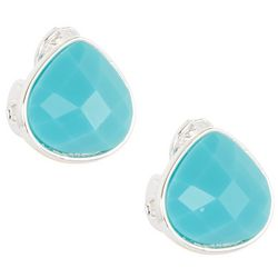 Napier Aqua Blue Teardrop Clip On Earrings
