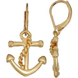 Napier Gold Tone Anchor Earrings