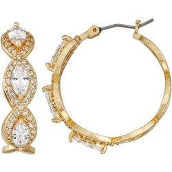 Napier Rhinestones Gold Tone Hoop Earrings
