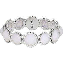 Napier Multi-Faceted White Stones Stretch Bracelet