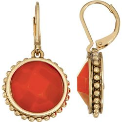 Napier Coral Orange Dangle Earrings