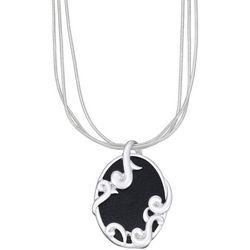 Napier MultiChain & Black Leather Pendant Necklace