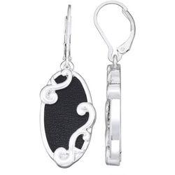 Napier Black Leather Oval Drop Earrings
