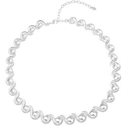 Napier Silver Tone Scroll Link Collar Necklace