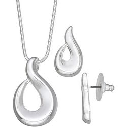Napier Silver Tone Scroll Pendant & Earring Set