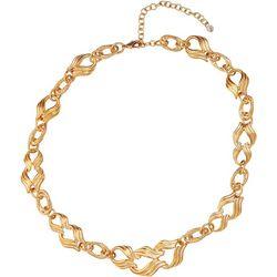 Napier Gold Tone Scroll Link Collar Necklace