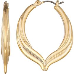 Napier 32mm Gold Tone Teardrop Hoop Earrings