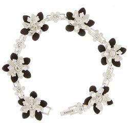Napier Black & White Flower Link Bracelet