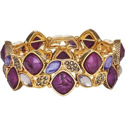 Napier Purple Multi Stone Cluster Stretch Bracelet