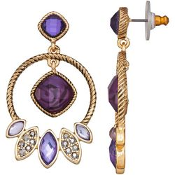 Napier Multi-Faceted Purple Hoop Drop Earrings