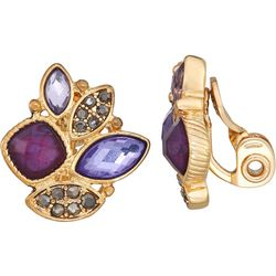 Napier Purple Multi Stone Cluster Clip Earrings