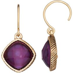 Napier Purple Multi- Faceted Stone Earrings
