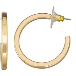 Napier Gold Tone Tubular C Post Top Hoop Earrings