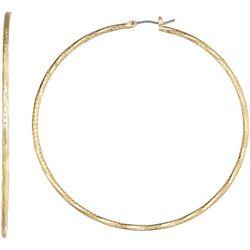 Napier 3 In. Gold Tone Thin Hoop Earrings