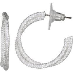 Napier Textured Twisting Rows Hoop Earrings