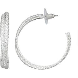 Napier Silver Tone Double Row Twist Hoop Earrings