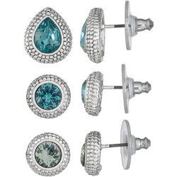 Napier Trio Multi-Faceted Stones Stud Earring Set