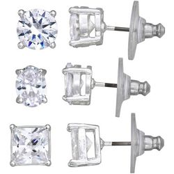 Napier 6MM CZ Round Oval Square Trio Earring Set