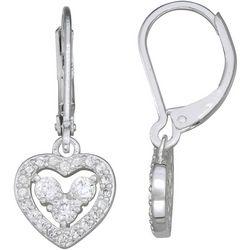 Napier Rhinestone Heart Lever Back Drop Earrings