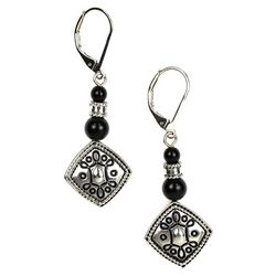 Napier Silver Tone Etched Squares Leverback Earrings