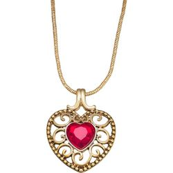 Napier Red Stone Filigree Heart Pendant Necklace