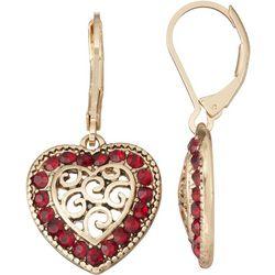 Napier Gold Tone Red Rhinestone Swirl Heart Drop Earrings
