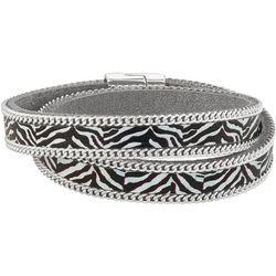 Napier Zebra Print Double Wrap Magnetic Bracelet