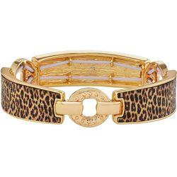 Napier Leopard Print Link Stretch Bracelet
