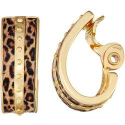 Napier Leopard Print Clip Hoop Earrings