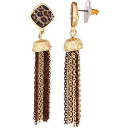 Napier Animal Post Top Multi Chain Tassel Earrings