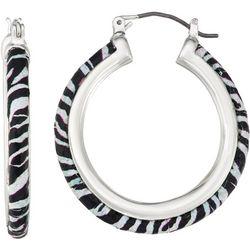 Napier Zebra Print Hoop Earrings