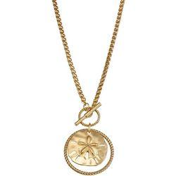 Napier Gold Tone Sand Dollar Shaped Pendant Necklace