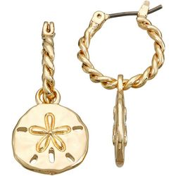 Napier Gold Tone Hoop Sand Dollar Earrings