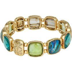 Napier Stones & Etched Gold Tone Stretch Bracelet