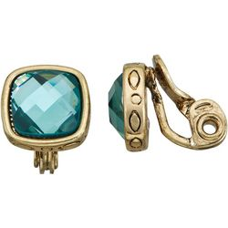 Napier Multi-Faceted Blue Gold Tone Clip On Earrings