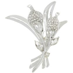 Napier Crystal Clear Rhinestone Flower Bouquet Pin