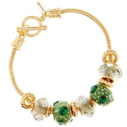 Napier Green Slider Beads Gold Tone Toggle Bracelet