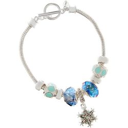 Napier Blue Slider Bead & Snowflake Bracelet