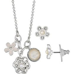 Napier Faux Pearl & Rhinestone Flower Charm Necklace Set