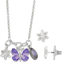 Napier Purple Butterfly Charm Necklace Set