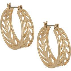 Napier 25mm Gold Tone Cutout Hoop Earrings