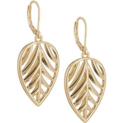 Napier Gold Tone Leaf Drop Leverback Earrings