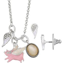 Napier Flying Pig & Wings Charm Earrings & Necklace Set