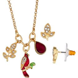 Napier Red Cardinal Necklace & Earring Set