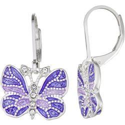 Napier Purple Butterfly Leverback Earrings
