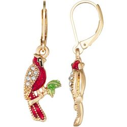 Napier Rhinestone & Enamel Cardinal Leverback Earrings