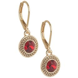 Napier Red Siam Stone Round Drop Earrings