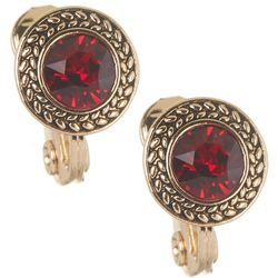 Napier Round Red Siam Stone Clip On Earrings