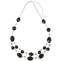Napier Jet Stream Multi-Faceted Black Stone Necklace