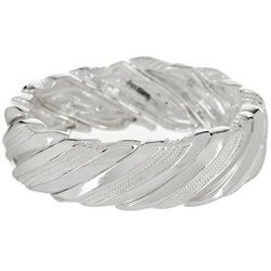 Napier Making Waves Wide Silver Tone Stretch Bracelet